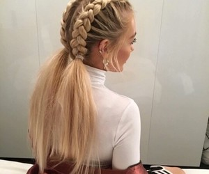 blonde, hairstyle, and long hair image