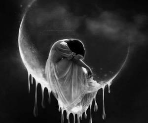 moon, sad, and art image