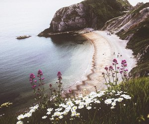 beaches, blue, and cliff image