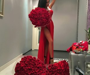 red, dress, and rose image