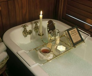 bath, bathtub, and candle image