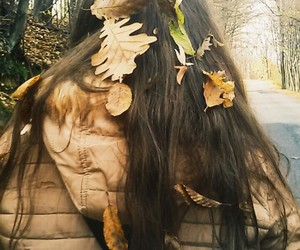 autumn, hair, and leaves image