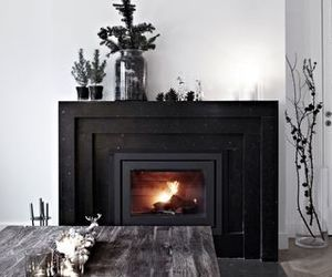 fireplace, black, and interior image