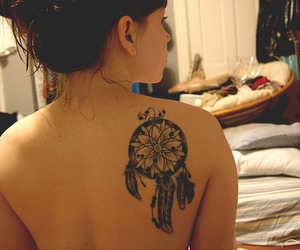 back, dreamcatcher, and girl image
