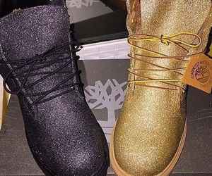 shoes, glitter, and timberland image