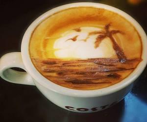 costa, latte art, and costa coffee image