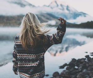 girl, winter, and mountains image