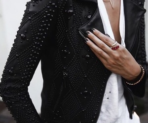 black, jacket, and chic image