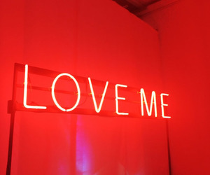 red, neon, and love image