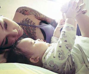 tattoo, baby, and mom image