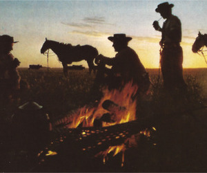cowboy, fire, and horses image