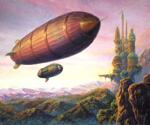 art, blimp, and zeppelin image