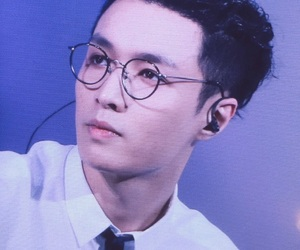 black hair, exo, and glasses image