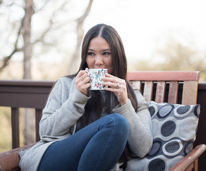 brunette, coffee, and cold image