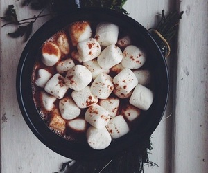 marshmallow, winter, and hot chocolate image