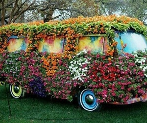 flowers, hippie, and car image