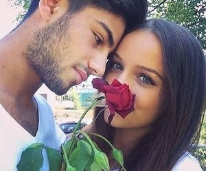 couple, rose, and love image
