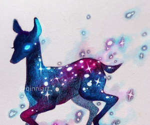 deer, drawing, and stars image