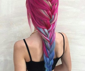 blue hair, braids, and girl image