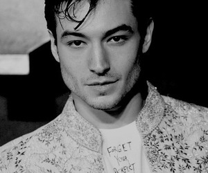 ezra miller, black and white, and handsome image