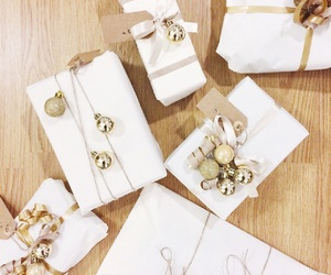christmas, gifts, and gold image