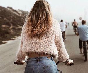 fashion, girl, and bike image
