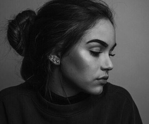 girl, black and white, and beauty image