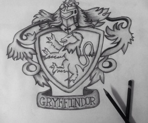 b&w, drawing, and gryffindor image