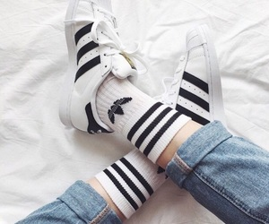 adidas, white, and jeans image