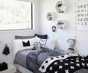 bedroom, black and white, and interior image