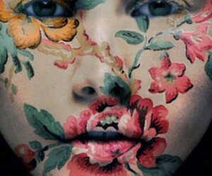 flowers, art, and face image