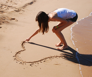 beach, brunette, and heart image