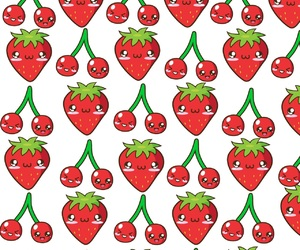 background, cherries, and patterns image