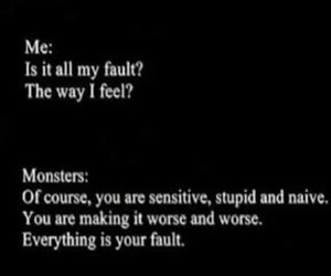 depressed, depression, and monsters image