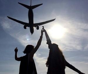 airplane, girls, and sky image