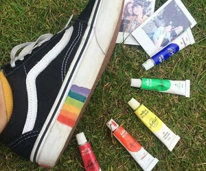 vans, rainbow, and paint image