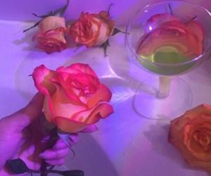 bathroom, purple, and roses image