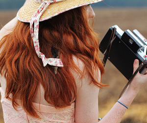 girl, camera, and redhead image