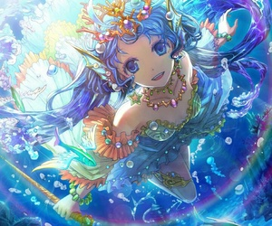 anime, anime girl, and mermaid image