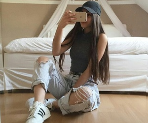 girl, adidas, and outfit image