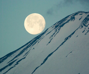 mountains, moon, and snow image