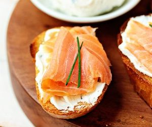 food, salmon, and goat cheese image