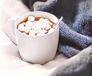 cocoa, drink, and marshmallows image