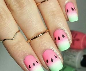 nail art, nails, and watermellon image