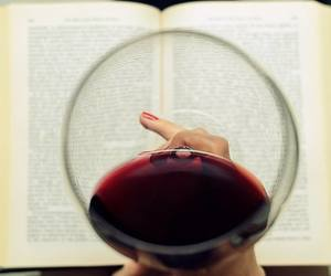 book, wine, and red image