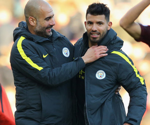 manchester city, pep guardiola, and aguero image
