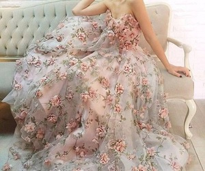dress, flowers, and beauty image