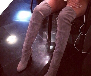 boots, over the knee, and taupe image