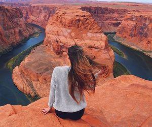 girl, grand canyon, and hair image