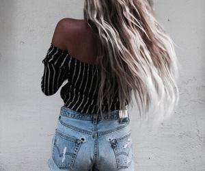 fashion, hair, and denim image